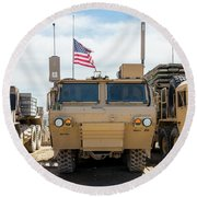 Round Beach Towel featuring the photograph Heavy Patriotism by SR Green