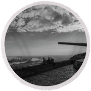 Round Beach Towel featuring the photograph Heavy Weapons And A Light Lunch by Alex Lapidus