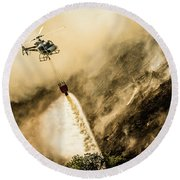 Helicopter Dropping Water On A Forest Fire Round Beach Towel
