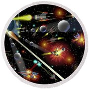 Hell In Space Round Beach Towel