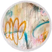 Round Beach Towel featuring the painting Hello My Darling by Tracy Bonin
