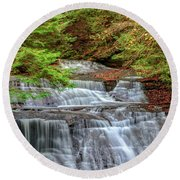 Hell's Hollow In Late Summer Round Beach Towel