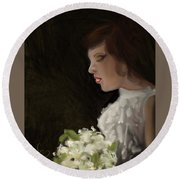 Round Beach Towel featuring the painting Her Big Day by Fe Jones