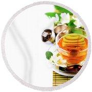 Herbal Green Tea With Jasmine Flower In Transparent Teacup Borde Round Beach Towel