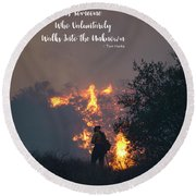 Round Beach Towel featuring the photograph Hero by Lynn Bauer