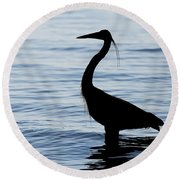 Heron In Silhouette Round Beach Towel