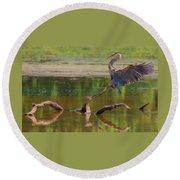 Heron Landing  Round Beach Towel