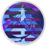 Round Beach Towel featuring the painting Hexagram 52-gen-immovable by Denise Weaver Ross