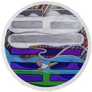 Round Beach Towel featuring the painting Hexagram-62-xiao-guo-small-traverses by Denise Weaver Ross