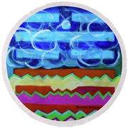 Round Beach Towel featuring the painting Hexagram 63-ji-ji-equilibrium by Denise Weaver Ross