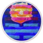 Round Beach Towel featuring the painting Hexagram-64-wei-ji-ripening by Denise Weaver Ross