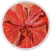 Hibiscus Color Lines Round Beach Towel
