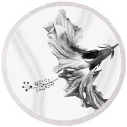 Hibiscus In Black And White Round Beach Towel