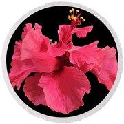Hibiscus Pink In Black Round Beach Towel