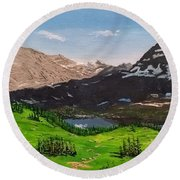 Round Beach Towel featuring the painting Hidden Lake Pass by Kevin Daly