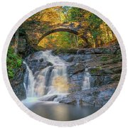 Round Beach Towel featuring the photograph High Arch Bridge In Vaughan Woods by Rick Berk