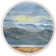 Round Beach Towel featuring the painting High Desert Morning by Kevin Daly
