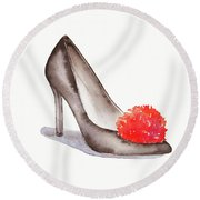 High Heel Shoes With Red Pompom By #mahsawatercolor Round Beach Towel