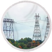 High-voltage Power Transmission Towers  2 Round Beach Towel