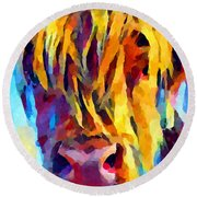 Highland Cow 5 Round Beach Towel