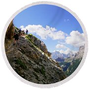 Hikers On Steep Trail Up Monte Piana Round Beach Towel
