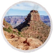Round Beach Towel featuring the photograph Hiking Toward O'neill Butte, Grand Canyon by Dawn Richards