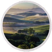 Hilly Tuscany Valley Round Beach Towel