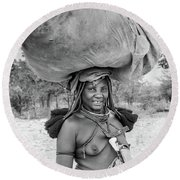 Himba Woman 2 Round Beach Towel