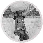 Himba Woman 3 Round Beach Towel