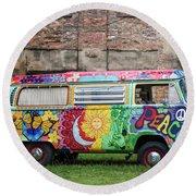 Hippie Dippie Vw Micro Bus Round Beach Towel