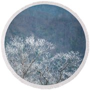 Hoarfrost Collects On Branches Round Beach Towel