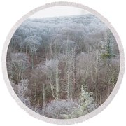Hoarfrost In The Tree Tops Round Beach Towel