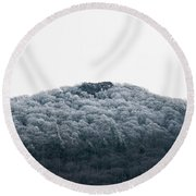 Hoarfrost On The Mountain Round Beach Towel
