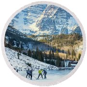 Round Beach Towel featuring the photograph Hockey On Maroon Lake Maroon Bells Aspen Colorado by Nathan Bush