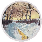 Tunnel In Winter Round Beach Towel