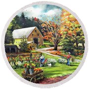 Hodges Farm In Fairlee Vermont Round Beach Towel