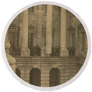 Hoisting Final Marble Column At United States Capitol Round Beach Towel