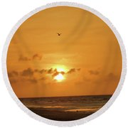 Holden Beach Sunrise Round Beach Towel
