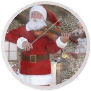 Holiday Santa Playing Violin Round Beach Towel