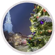 Holiday Snow, Market Square Round Beach Towel