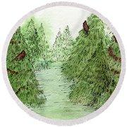 Holiday Trees Woodland Landscape Illustration Round Beach Towel