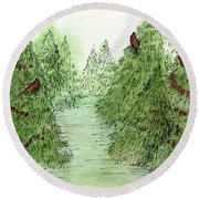 Holiday Trees Woodland Landscape Illustration Round Beach Towel