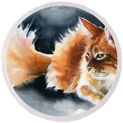 Holy Ginger Fluff - Cat Painting Round Beach Towel