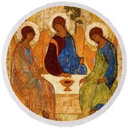 Round Beach Towel featuring the painting Holy Trinity by Andrei Rublev