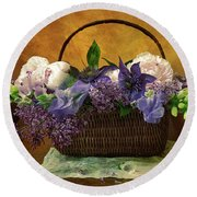 Home Grown Floral Bouquet Round Beach Towel