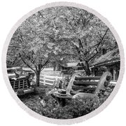 Home Is Where The Heart Is In Black And White Round Beach Towel