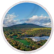Round Beach Towel featuring the photograph Home Of My Youth  by Michael Hughes