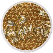 Round Beach Towel featuring the drawing Honey Bees by Clint Hansen