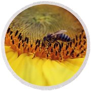 Round Beach Towel featuring the photograph Honey by Candice Trimble