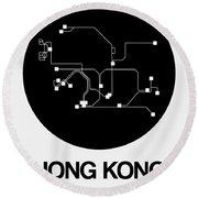 Hong Kong Black Subway Map Round Beach Towel